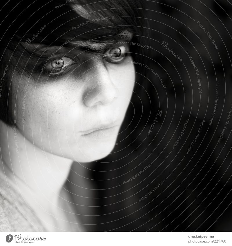 Woman Human being Youth (Young adults) Feminine Emotions Dream Sadness Fear Adults Portrait photograph Uniqueness Creepy Fatigue Meditative Fear of death