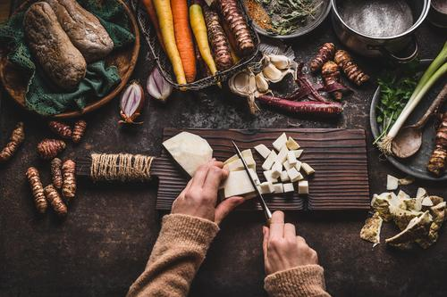Hands cut vegetables on rustic kitchen table Food Vegetable Nutrition Organic produce Vegetarian diet Diet Pot Knives Style Healthy Eating Living or residing