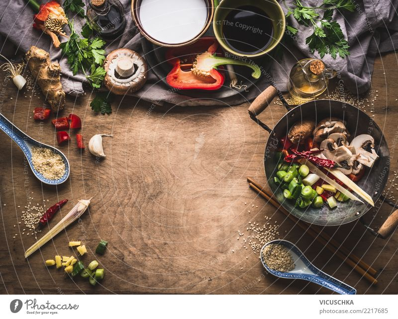 Asian cooking ingredients for fried vegetables, vegetarian Food Vegetable Herbs and spices Nutrition Dinner Organic produce Vegetarian diet Diet Asian Food