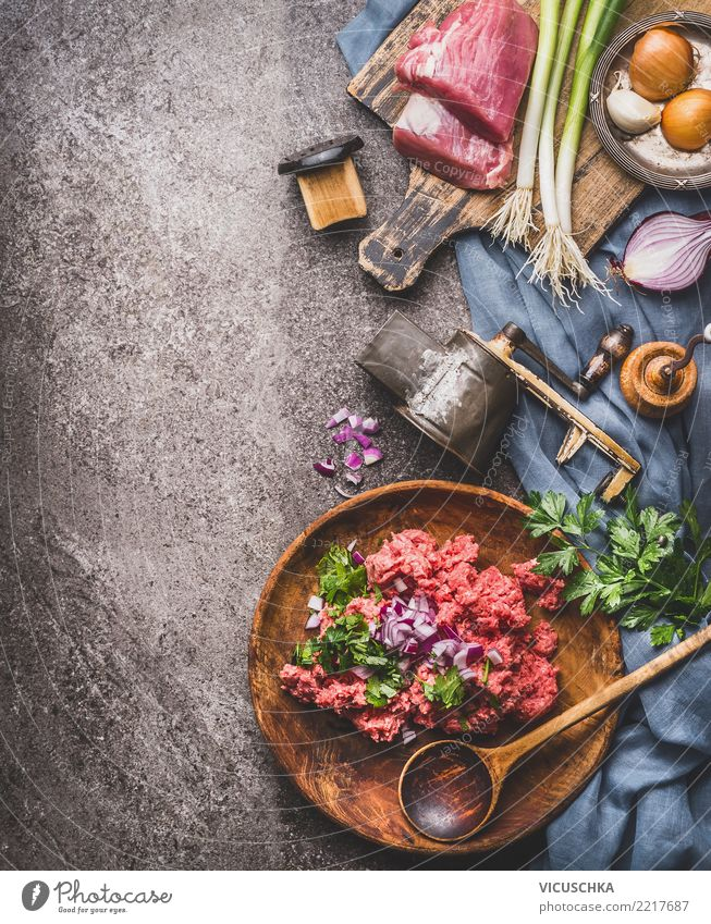 Cooking with minced meat Food Meat Nutrition Lunch Dinner Organic produce Slow food Crockery Plate Bowl Spoon Life Living or residing Table Design Style