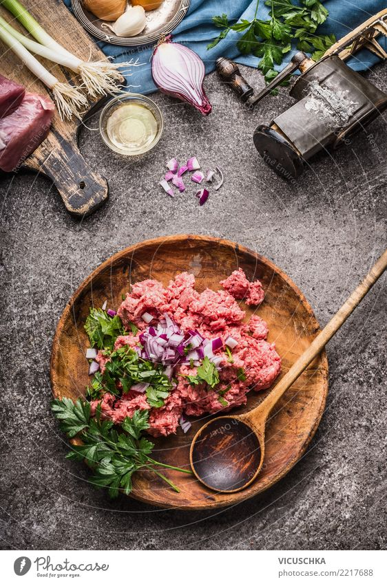 Raw minced meat,in bowl with spoon Food Meat Herbs and spices Nutrition Organic produce Crockery Plate Bowl Spoon Design Healthy Eating Table Kitchen