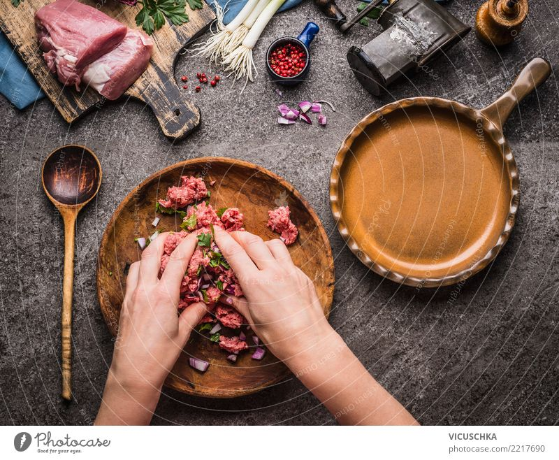 Female hands make minced meat filling Food Meat Herbs and spices Nutrition Organic produce Bowl Pan Spoon Lifestyle Living or residing Table Feminine Hand