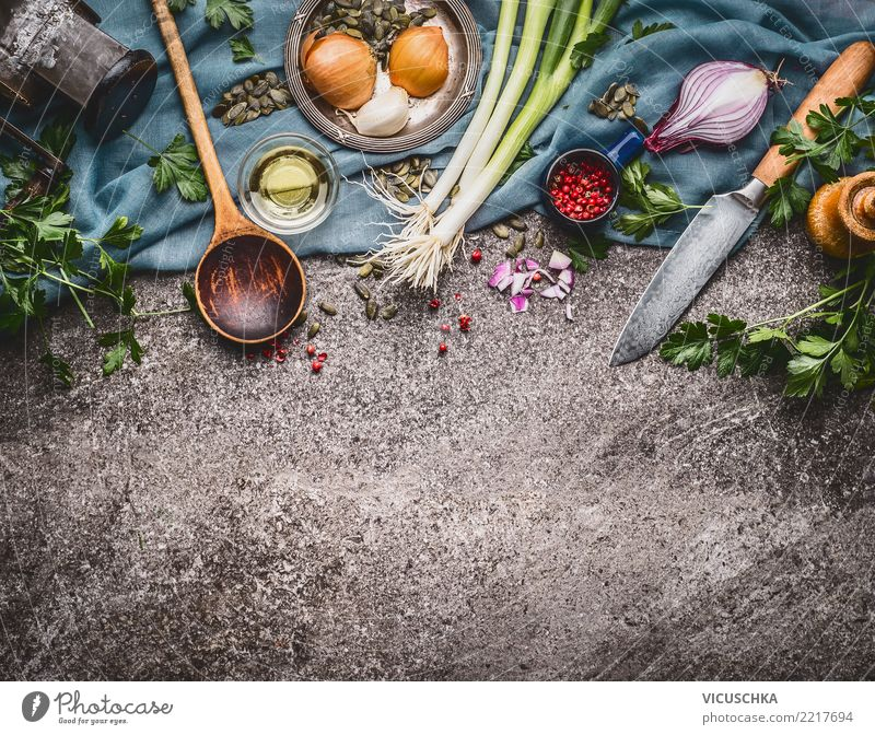Cooking spoon with knife and cooking ingredients Food Vegetable Lettuce Salad Soup Stew Herbs and spices Cooking oil Nutrition Organic produce Vegetarian diet