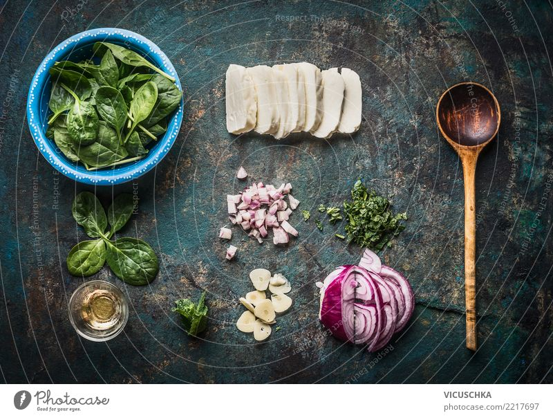 Vegetarian ingredients for tasty dishes Food Cheese Dairy Products Vegetable Lettuce Salad Herbs and spices Nutrition Organic produce Vegetarian diet Diet Bowl