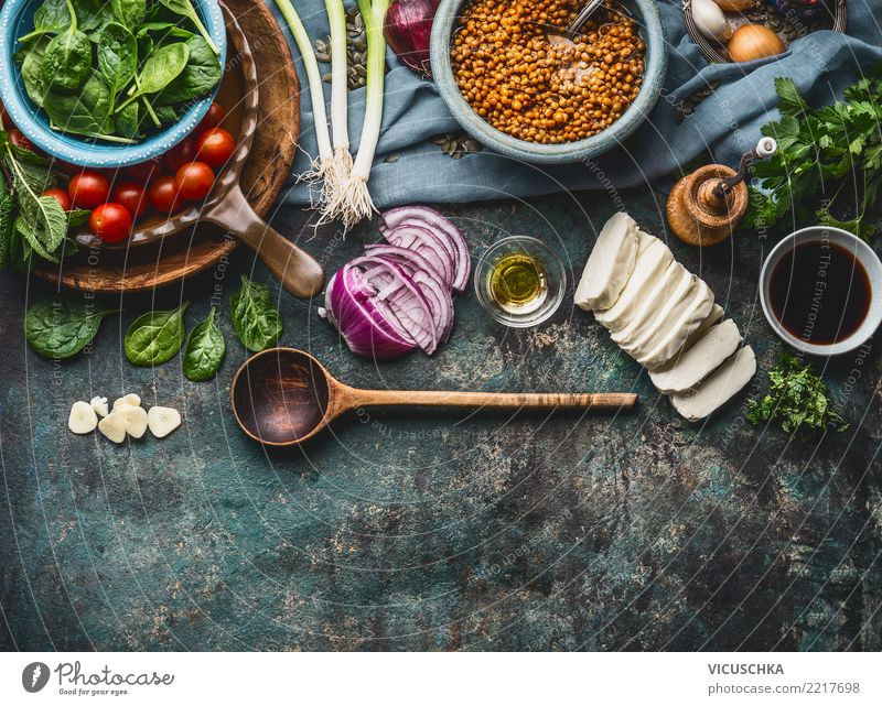 Vegetarian ingredients for lentil dishes Food Vegetable Lettuce Salad Grain Herbs and spices Nutrition Organic produce Vegetarian diet Diet Crockery Spoon Style