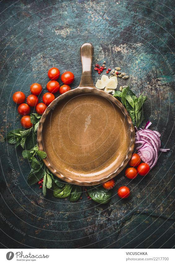 Vegetarian cooking ingredients around frying pan Food Vegetable Herbs and spices Nutrition Organic produce Vegetarian diet Diet Pan Healthy Eating Restaurant