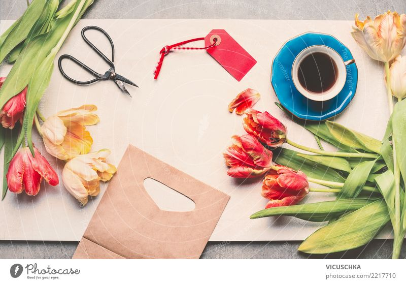 Tulips with scissors and a cup of coffee Coffee Cup Shopping Style Table Feasts & Celebrations Valentine's Day Mother's Day Birthday Paper Package Decoration