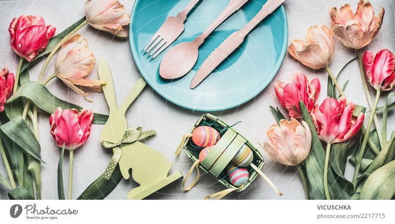 Easter table decoration with tulips, rabbit and eggs Banquet Crockery Plate Cutlery Style Design Living or residing Table Restaurant Feasts & Celebrations