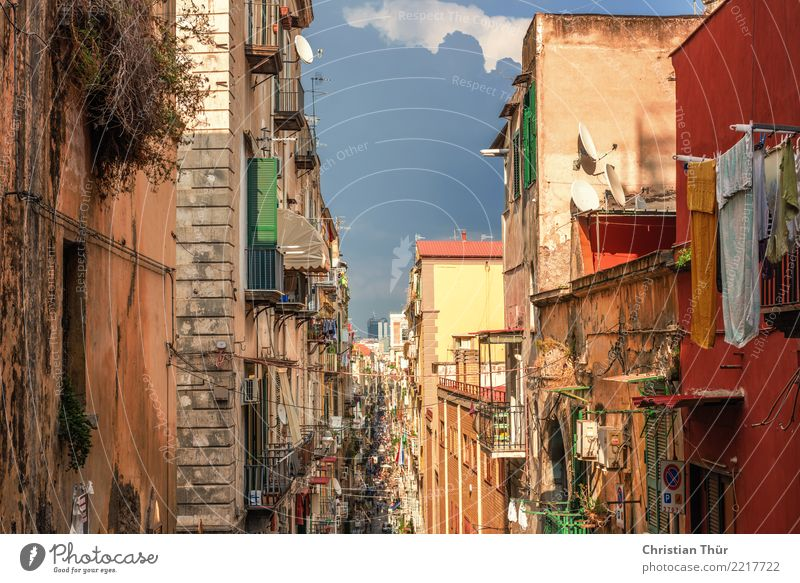 Streets of Naples Vacation & Travel Tourism Trip Adventure Sightseeing Summer Italy Town Downtown Old town Pedestrian precinct Deserted