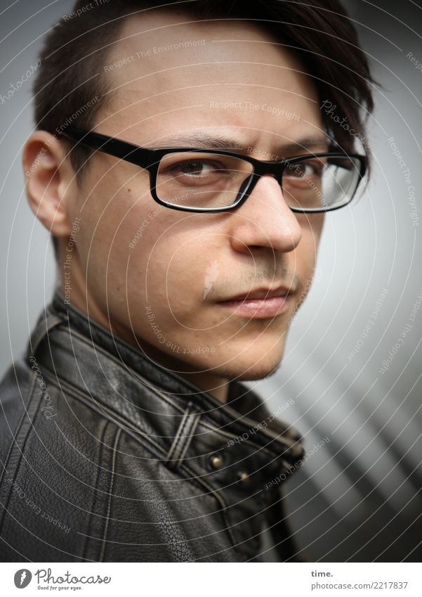 Sergei Masculine Man Adults 1 Human being Beautiful weather Jacket Leather jacket Eyeglasses Brunette Short-haired Long-haired Observe Think Looking Wait