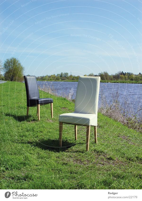 Dialogue of chairs Chair Black White Loneliness River Water Landscape Nature