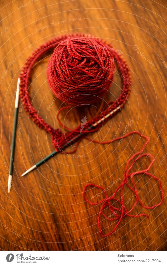 Before Senses Calm Leisure and hobbies Playing Handcrafts Knit Soft Red Ball of wool Wooly Sewing thread Knitting needle Colour photo Interior shot Detail