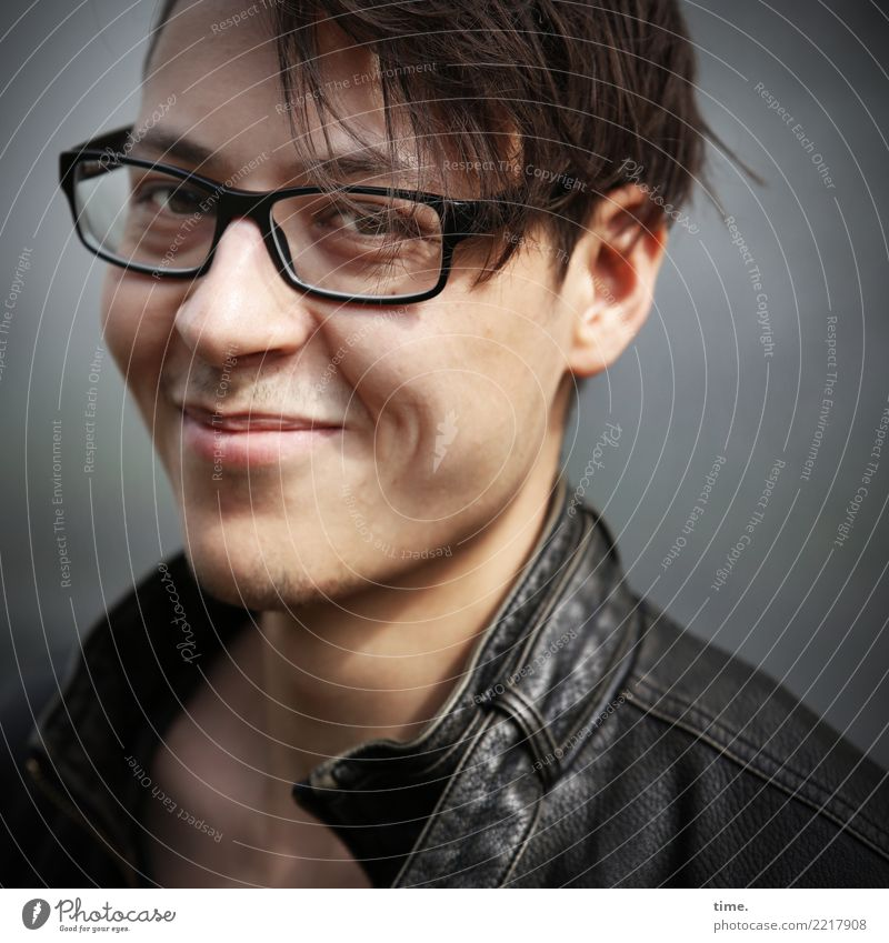 . Masculine Man Adults 1 Human being Jacket Leather jacket Eyeglasses Brunette Short-haired Observe Discover Smiling Looking Friendliness Beautiful Emotions