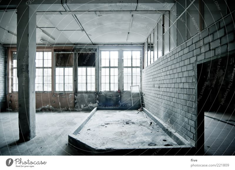 Old Loneliness Dark Cold Wall (building) Window Gray Wall (barrier) Building Bright Room Dirty Empty Gloomy Factory Floor covering
