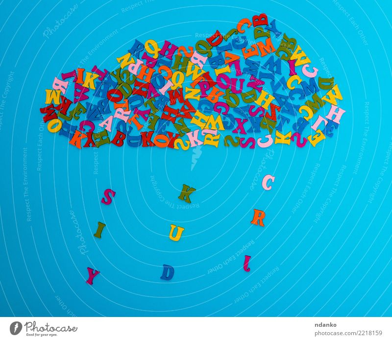 figure of a cloud of multi-colored wooden letters Decoration Clouds Rain Wood Blue Yellow Green Red Colour Idea many Cast iron alphabet Conceptual design