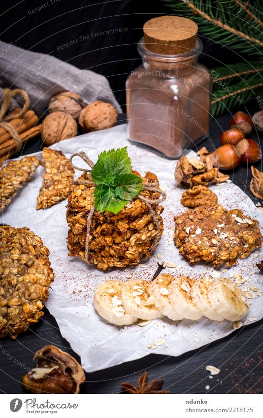 cookies from oat flakes and banana Dessert Nutrition Breakfast Organic produce Vegetarian diet Diet Hot Chocolate Eating Delicious Natural Brown White Energy
