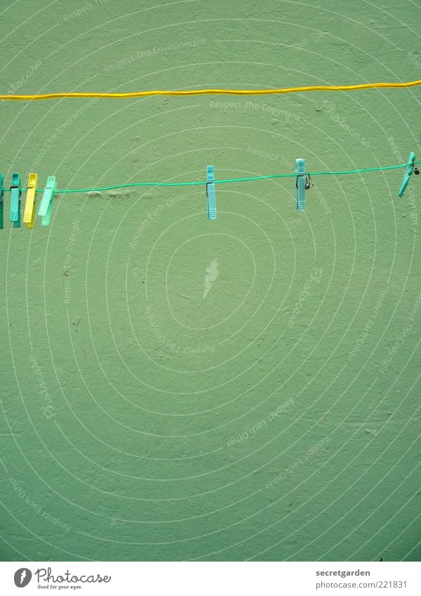 Green Yellow Colour Wall (building) Wall (barrier) Line Rope Facade Without Turquoise Hang Clothesline Suspended Perspective Clothes peg