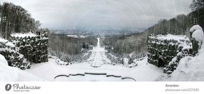 Kassel Hercules Cascades in Winter Environment Nature Landscape Elements Clouds Horizon Climate Weather Bad weather Ice Frost Snow Plant Tree Park Forest