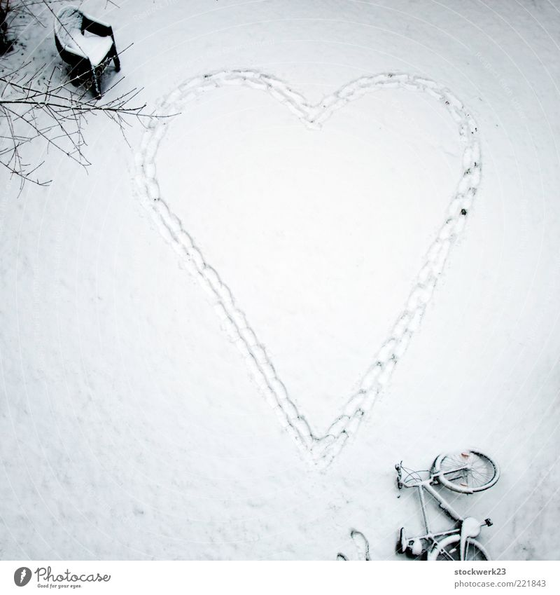 cardiovascular-running disorder Winter Snow Garden Bicycle Plastic chair Footprint Heart Going Love Large Crazy Passion Desire Endurance Longing Expectation