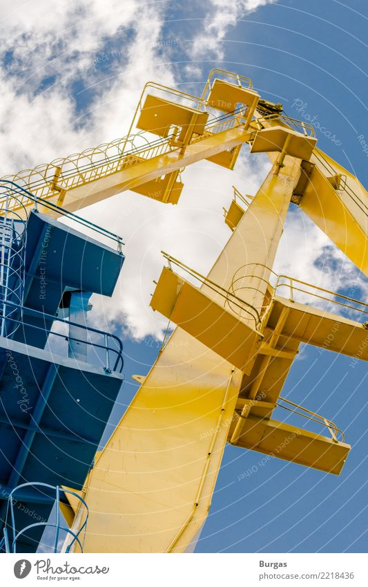 Crane in the port Machinery Technology Industry Trade Services Port freight Shipping Harbour Colour photo Exterior shot Deserted Day Full-length