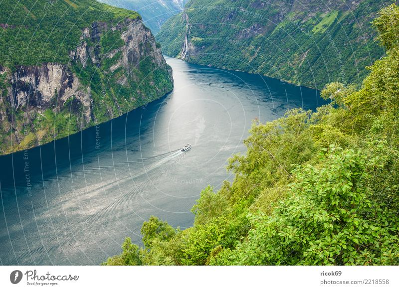 View of the Geirangerfjord in Norway Relaxation Vacation & Travel Tourism Cruise Mountain Nature Landscape Water Tree Rock Fjord Tourist Attraction Ferry Idyll