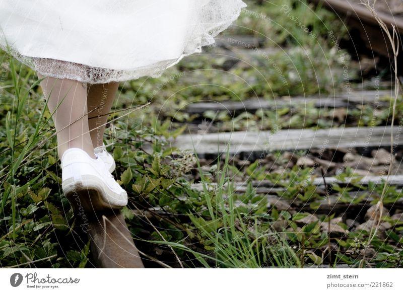 A new way Summer Human being Feminine Woman Adults Legs Feet 1 Grass Railroad tracks Skirt Dress Footwear Sneakers Steel Rust Going Esthetic Brown Gray Green