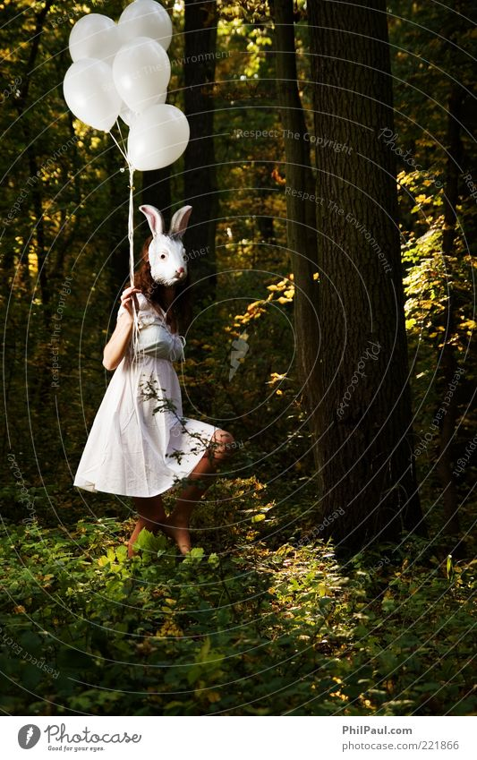 Human being Nature Youth (Young adults) Forest Feminine Feasts & Celebrations Environment Walking Balloon Dress Mask Carnival Mysterious Exceptional Creepy