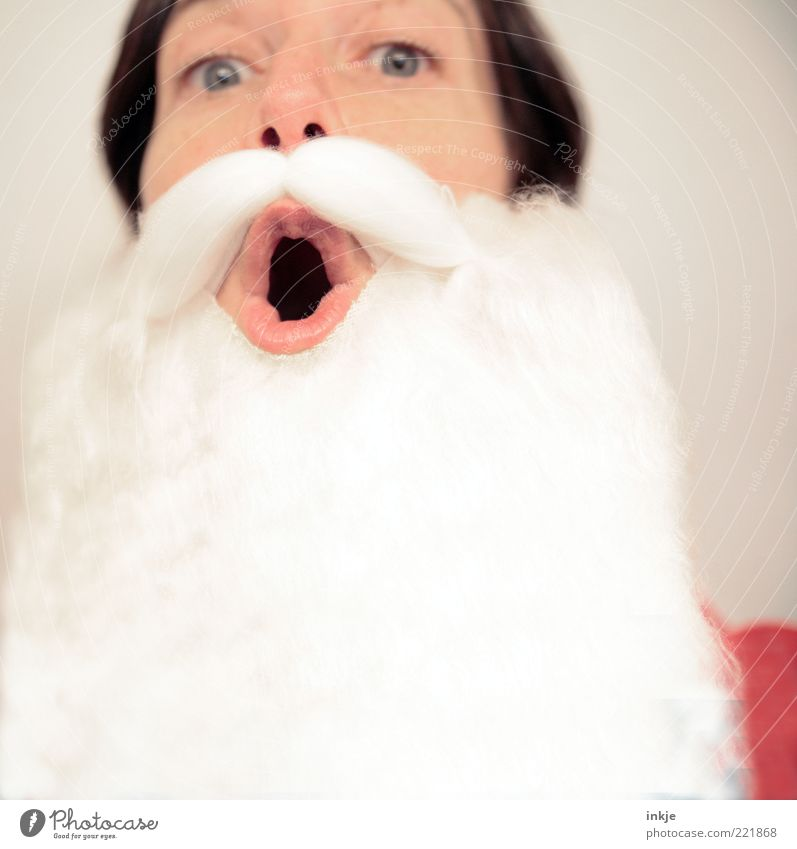 Hohohooo! Feasts & Celebrations Santa Claus Costume Mask Facial hair Beard Cliche Emotions Moody Anticipation Surprise Popular belief Identity Kitsch Nostalgia