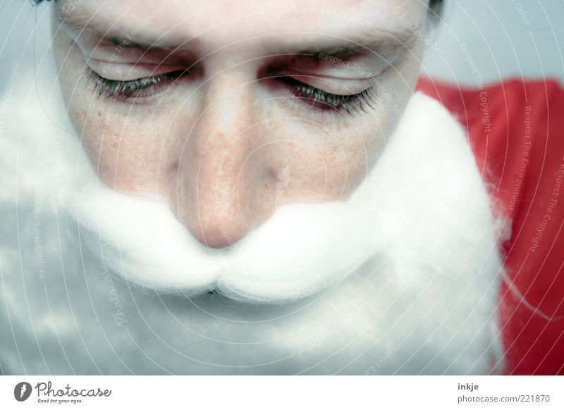 sad santa Feasts & Celebrations Santa Claus Adults Face Culture Facial hair Beard Emotions Moody Secrecy Caution Calm Sadness Fatigue Loneliness Exhaustion