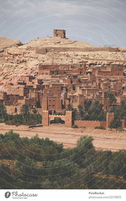 #A# Orient Art Esthetic Town Near and Middle East Arabia Set Wall (barrier) Morocco Castle Fastening World heritage Colour photo Subdued colour Exterior shot