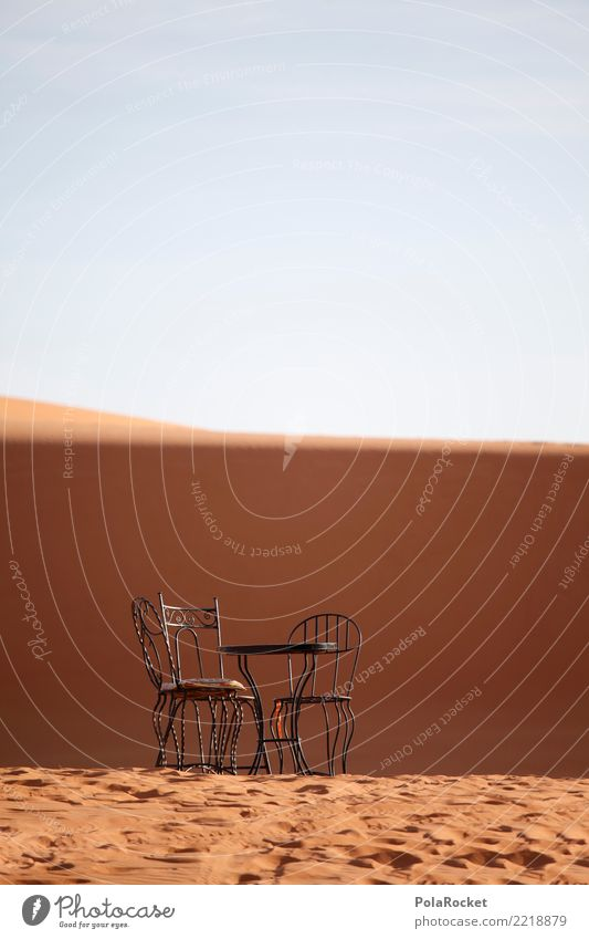 #A# Breakfast in the Sahara Environment Landscape Esthetic Desert Dune Table Chair Sand Morocco Near and Middle East Colour photo Subdued colour Exterior shot