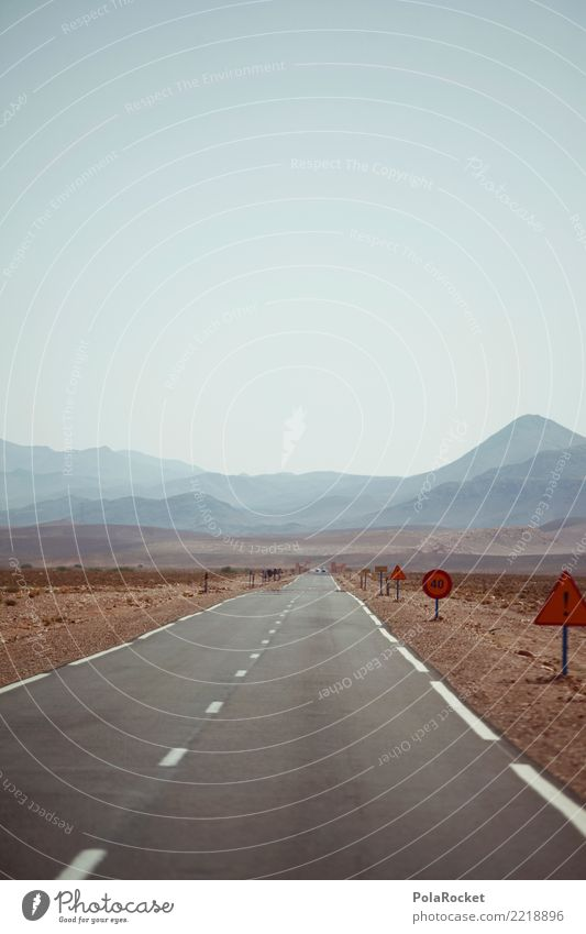 #A# Roadtrip Environment Esthetic road trip Street Asphalt Far-off places Morocco Highway Mountain Gloomy Warmth Hot Desert Summer Vacation photo Wanderlust