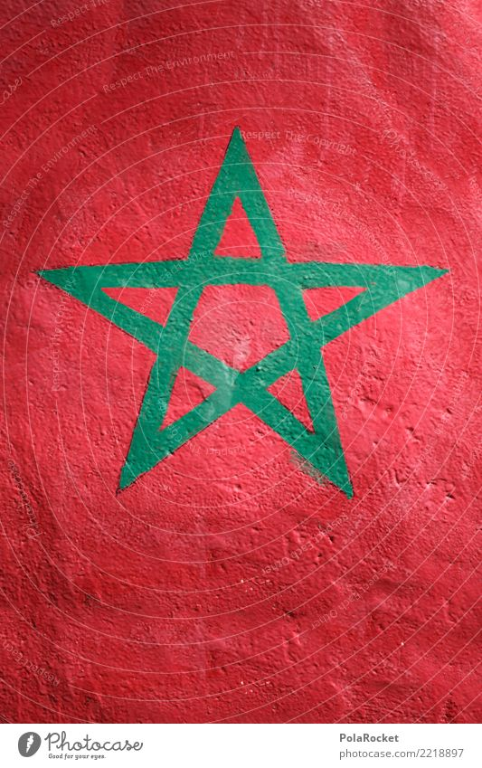 #A# Morocco Sign Esthetic Flag Africa Ensign Red Green Colour photo Multicoloured Exterior shot Detail Deserted Copy Space left Copy Space right Copy Space top