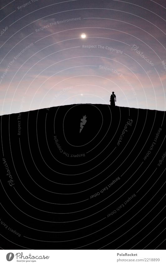 #A# Moon worshipper Art Work of art Esthetic Moonlight Moonstruck Moonrise Lunar eclipse Universe Belief Fantastic Sky Starry sky Sahara Desert Loneliness