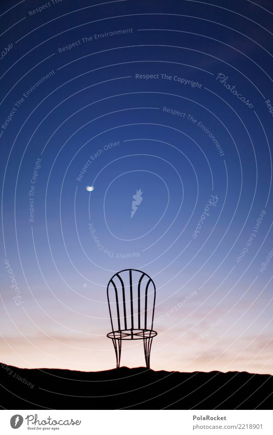 #A# Moon Chair Art Esthetic Moonlight Blue Sahara Room Time Timeless Universe Surrealism Colour photo Multicoloured Exterior shot Experimental Abstract Deserted