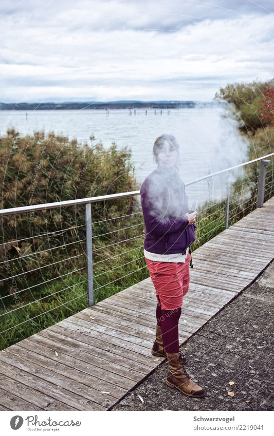 Hansine Steam Smoking Relaxation Freedom Summer Human being Feminine Young woman Youth (Young adults) 1 18 - 30 years Adults Climate Climate change Lakeside