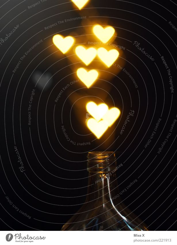 Love Dark Bright Heart Glittering Open Illuminate Many Bottle Alcoholic drinks Infatuation Magic Go up Light Undo Valentine's Day