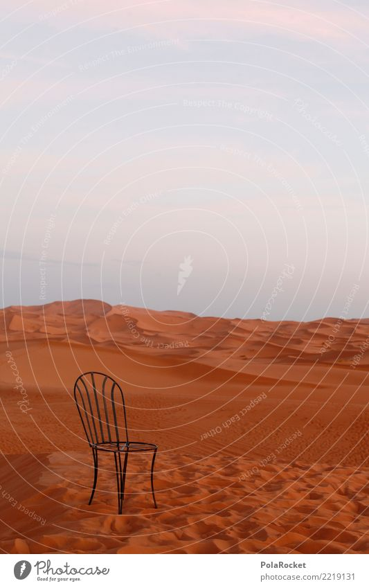 #A# limited places Art Work of art Esthetic Sand Sahara Chair Morocco Dune Colour photo Multicoloured Exterior shot Detail Experimental Deserted Copy Space left