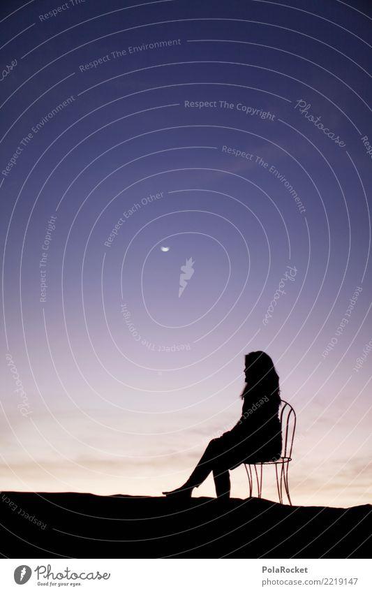 #A# Sitting Ovation Art Work of art Painting and drawing (object) Esthetic Model Manikin Fashion Wait Moon Posture Sky Fantastic Surrealism Idyll Dawn