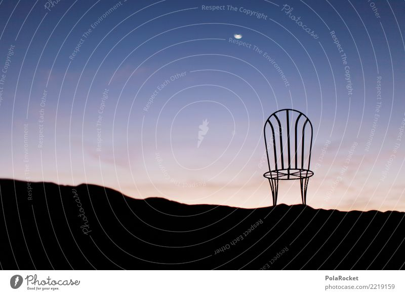 #A# Chill in the Desert Art Work of art Esthetic Moonlight Near and Middle East Arabia Sahara Chair Idyll Remote Relaxation Fantastic Surrealism Blue Sky