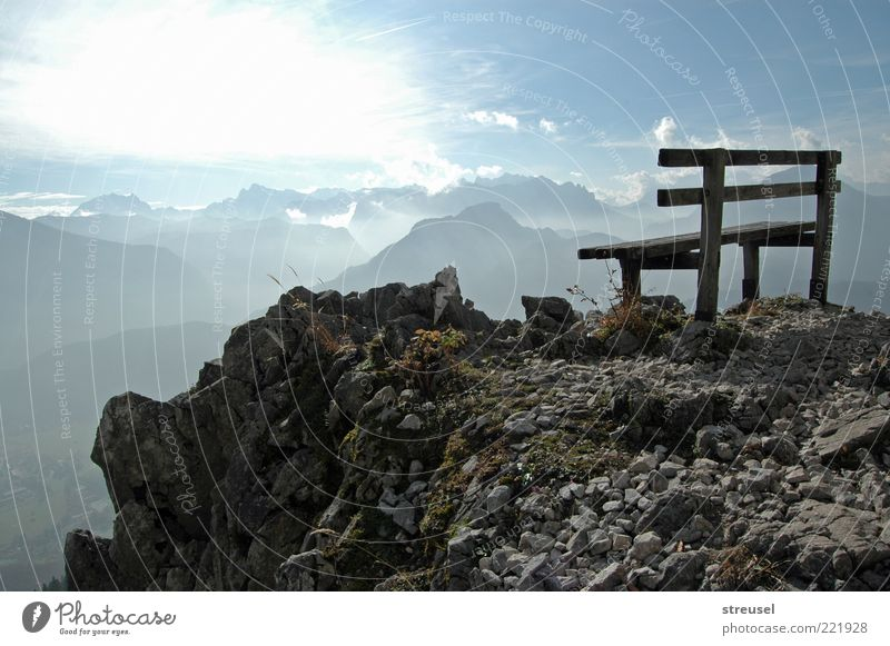 Nature Sky Blue Summer Vacation & Travel Life Above Mountain Landscape Bright Hiking Rock Tall Bench Alps Idyll