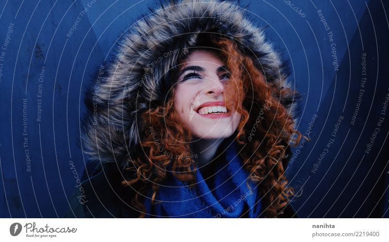 Young and happy redhead woman with winter clothes Lifestyle Elegant Style Beautiful Wellness Human being Feminine Young woman Youth (Young adults) 1