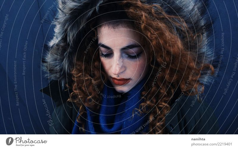 Beautiful redhead woman with winter clothes Human being Feminine Young woman Youth (Young adults) 1 18 - 30 years Adults Winter Coat Fur coat Pelt Piercing