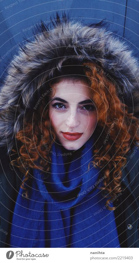 Redhead young woman wearing winter clothes Human being Youth (Young adults) Young woman Beautiful Winter 18 - 30 years Black Face Adults Warmth Lifestyle Cold