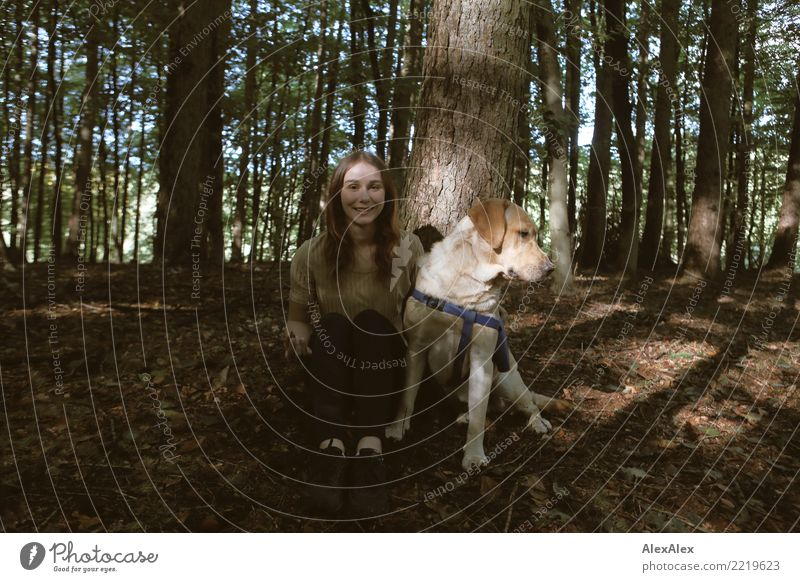 walk in the woods Lifestyle Joy pretty Trip Young woman Youth (Young adults) 18 - 30 years Adults Nature Beautiful weather Tree Forest Brunette Long-haired Pet