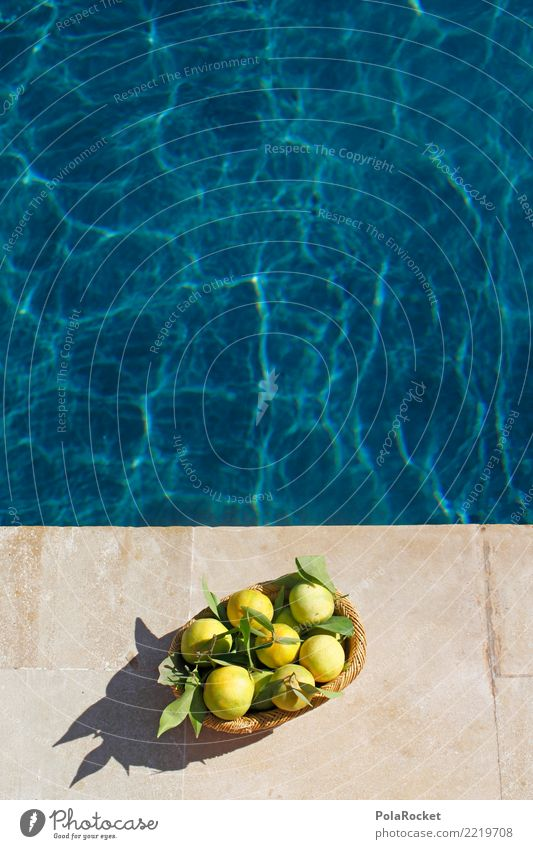 #A# by the pool Art Work of art Esthetic Swimming pool Luxury Relaxation Wellness Blue Tangerine Fresh Summer Summer vacation Bird's-eye view Colour photo