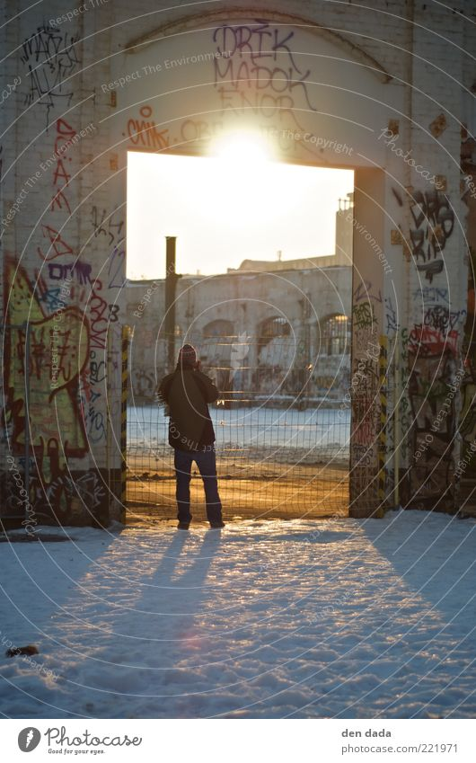 Human being Old Winter Architecture Graffiti Snow Berlin Facade Individual Simple Concrete Sign Youth culture Factory Derelict Decline