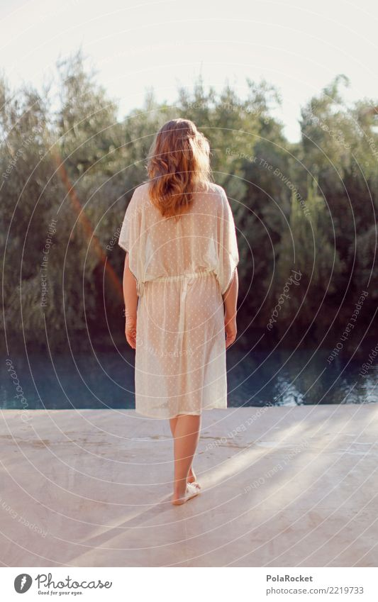 #A# Girl at the Pool Art Esthetic Woman Feminine Delicate Morning Photo shoot pool Swimming pool Barefoot Decent Noble Transparent Bottom Dress Fashion