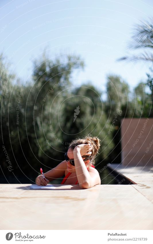 #A# Day at the pool 1 Human being Esthetic Woman Write Writing Mail Card Swimming pool Vacation & Travel Vacation photo Vacation mood Vacation destination