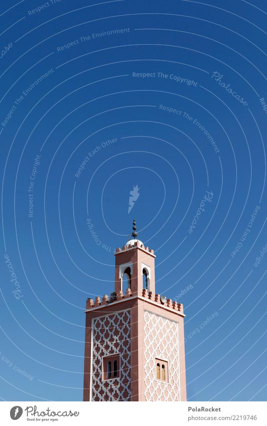 #A# Turret House (Residential Structure) Esthetic Tower Spire Morocco Marrakesh Arabia Near and Middle East Blue sky Colour photo Multicoloured Exterior shot